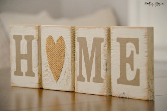 stella minded HOME Burlap Heart Blocks 1