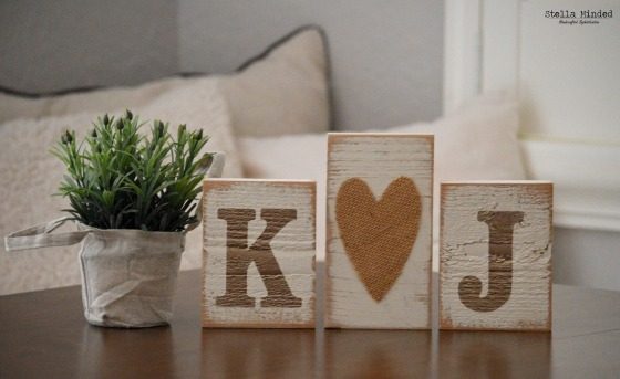 stella minded Initials with Large Burlap Heart Blocks 1
