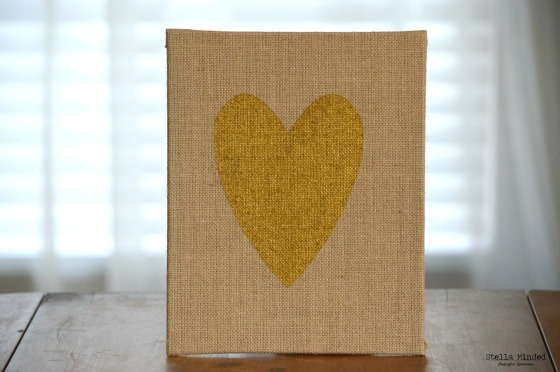 stella minded Burlap Gold Heart Panel 1